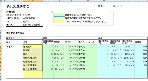 excel連携アドイン 委託先の進捗管理票をtimetracker fxで一元的に管理